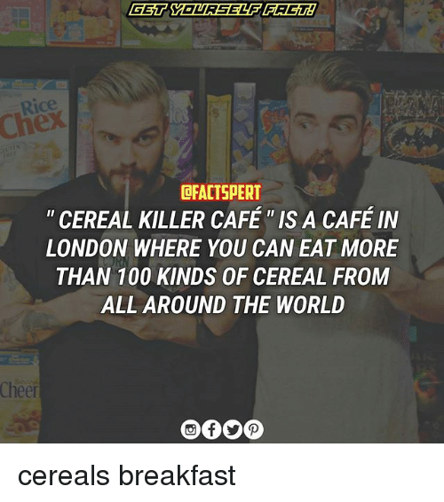 cereal killer: DFACTSPERT  CEREAL KILLER CAFE IS A CAFE IN  LONDON WHERE YOU CAN EAT MORE  THAN 100 KINDS OF CEREAL FROM  ALL AROUND THE WORLD  Cheer cereals breakfast