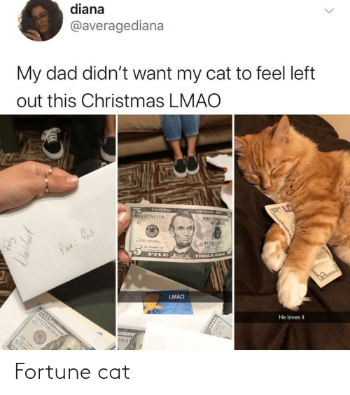 diana: diana  @averagediana  My dad didn't want my cat to feel left  out this Christmas LMAO  RESIn  VEDERAL  MA59274515B  A1  MAS527-5151  Pane: Gus  DOLLARS  FIVE  LMAO  He loves it  LO61738104 A  C3  NVENOTR  104 A  100  Uaridacd Fortune cat