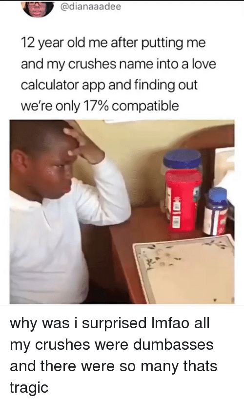 Love, Memes, and Calculator: @dianaaadee  12 year old me after putting me  and my crushes name into a love  calculator app and finding out  were only 17% compatible why was i surprised lmfao all my crushes were dumbasses and there were so many thats tragic