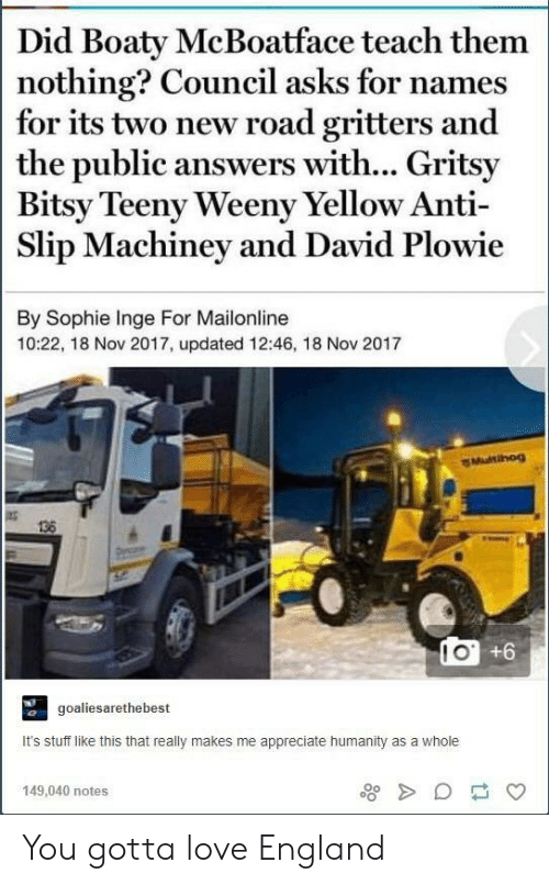 Council: Did Boaty McBoatface teach them  nothing? Council asks for names  for its two new road gritters and  the public answers with... Gritsy  Bitsy Teeny Weeny Yellow Anti  Slip Machiney and David Plowie  By Sophie Inge For Mailonline  10:22, 18 Nov 2017, updated 12:46, 18 Nov 2017  Multihog  138  IO +6  goaliesarethebest  It's stuff like this that really makes me appreciate humanity as a whole  149,040 notes You gotta love England