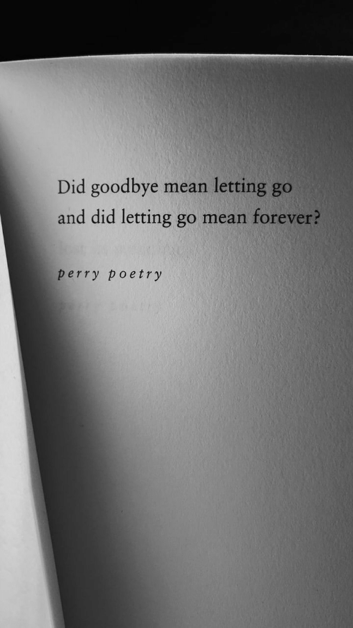 Forever, Mean, and Poetry: Did goodbye  letting go  mean  and did letting go mean forever?  perry poetry