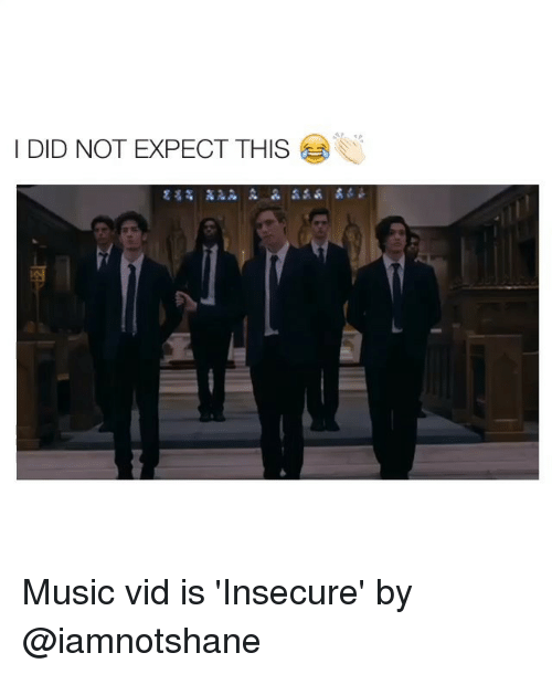 Music, Girl Memes, and Did: DID NOT EXPECT THIS Music vid is 'Insecure' by @iamnotshane