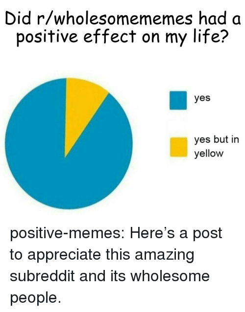 Life, Memes, and Tumblr: Did r/wholesomememes had a  positive effect on my life?  yes  yes but in  yellow positive-memes:  Here's a post to appreciate this amazing subreddit and its wholesome people.