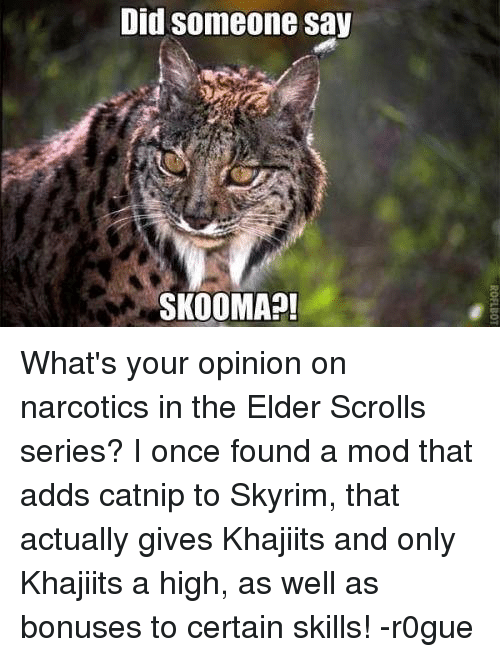 Memes, 🤖, and Elder Scrolls: Did someone say  SKOOMA What's your opinion on narcotics in the Elder Scrolls series? I once found a mod that adds catnip to Skyrim, that actually gives Khajiits and only Khajiits a high, as well as bonuses to certain skills! -r0gue