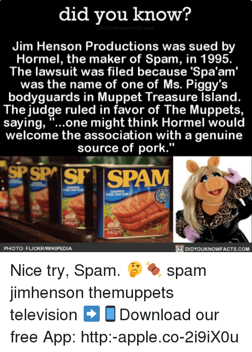 """Porking: did vou know?  Jim Henson Productions was sued by  Hormel, the maker of Spam, in 1995.  The lawsuit was filed because 'Spa'am'  was the name of one of Ms. Piggy's  bodyguards in Muppet Treasure Island.  The judge ruled in favor of The Muppets,  saying, """"...one might think Hormel would  welcome the association with a genuine  source of pork.""""  PORK AND  340ge  PHOTO: FLICKRAMIKIPEDIA  DIDYOUKNOWFACTS.coM Nice try, Spam. 🤔🍖 spam jimhenson themuppets television ➡📱Download our free App: http:-apple.co-2i9iX0u"""