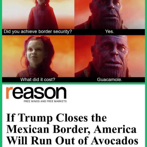 America, Guacamole, and Run: Did you achieve border security?  Yes  What did it cost?  Guacamole.  reason  FREE MINDS AND FREE MARKETS  If Trump Closes the  Mexican Border, America  Will Run Out of Avocados