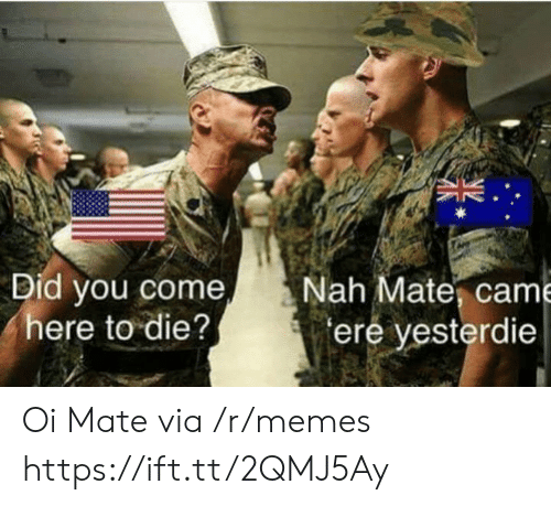 oi mate: Did you come  here to die?  Nah Mate, came  ere yesterdie Oi Mate via /r/memes https://ift.tt/2QMJ5Ay