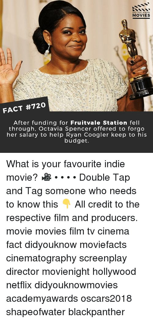 Memes, Movies, and Netflix: DID YOU KN  MOVIES  At  FACT #720  After funding for Fruitvale Station fell  through, Octavia Spencer offered to forgo  her salary to help Ryan Coogler keep to his  budget. What is your favourite indie movie? 🎥 • • • • Double Tap and Tag someone who needs to know this 👇 All credit to the respective film and producers. movie movies film tv cinema fact didyouknow moviefacts cinematography screenplay director movienight hollywood netflix didyouknowmovies academyawards oscars2018 shapeofwater blackpanther