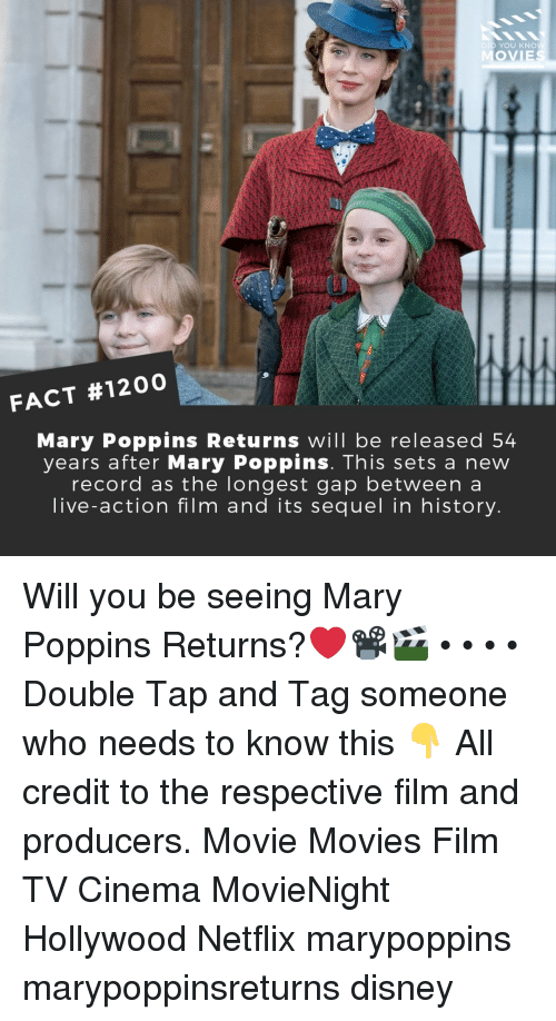 Disney, Memes, and Movies: DID YOU KNO  MOVIE  FACT #1200  Mary Poppins Returns will be released 54  years after Mary Poppins. This sets a new  record as the longest gap between a  live-action film and its sequel in history Will you be seeing Mary Poppins Returns?❤️📽️🎬 • • • • Double Tap and Tag someone who needs to know this 👇 All credit to the respective film and producers. Movie Movies Film TV Cinema MovieNight Hollywood Netflix marypoppins marypoppinsreturns disney