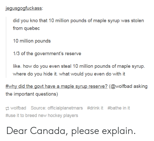 Hockey, Canada, and Asking: did you kno that 10 million pounds of maple syrup was stolen  from quebec  10 million pounds  1/3 of the government's reserve  like. how do you even steal 10 million pounds of maple syrup.  where do you hide it. what would you even do with it  #why did the govt have a maple syrup reserve? (@wolfbad asking  the important questions)  wolfbad Source: officia!planetmars  #use it to breed new hockey players  #drink it  #bathe init Dear Canada, please explain.