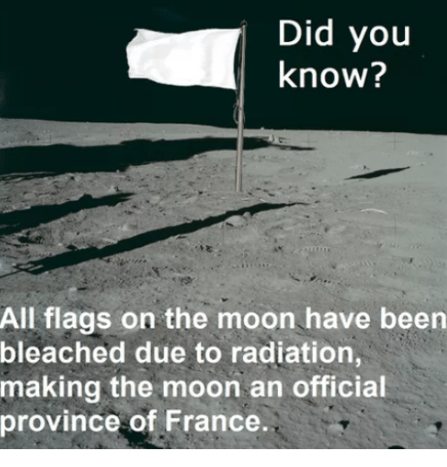 France, Moon, and Been: Did you  know?  All flags on the moon have been  bleached due to radiation,  making the moon an official  province of France.