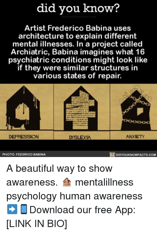 Dyslexia: did you know?  Artist Frederico Babina uses  architecture to explain different  mental illnesses. In a project called  Archiatric, Babina imagines what 16  psychiatric conditions might look like  if they were similar structures in  various states of repair.  ANXIETY  DEPRESSION  DYSLEXIA  DIDYOUKNOWFACTs.coM  PHOTO: FEDERICO BABINA A beautiful way to show awareness. 🏚 mentalillness psychology human awareness ➡📱Download our free App: [LINK IN BIO]