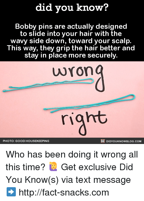 Housekeeping: did you know?  Bobby pins are actually designed  to slide into your hair with the  wavy side down, toward your scalp  This way, they  grip the hair better and  stay in place more securely  wron  right  DIDYouK Now BLOG coM  PHOTO: GOOD HOUSEKEEPING Who has been doing it wrong all this time? 🙋  Get exclusive Did You Know(s) via text message ➡ http://fact-snacks.com