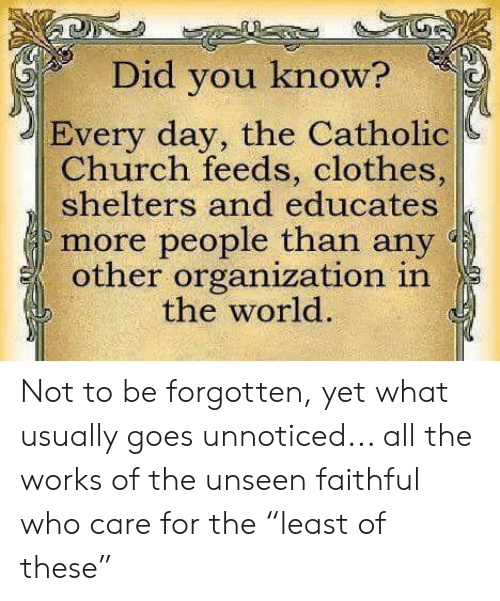 "feeds: Did you know?  Every day, the Catholic  Church feeds, clothes,  shelters and educates  more people than any  other organization in  the world. Not to be forgotten, yet what usually goes unnoticed... all the works of the unseen faithful who care for the ""least of these"""