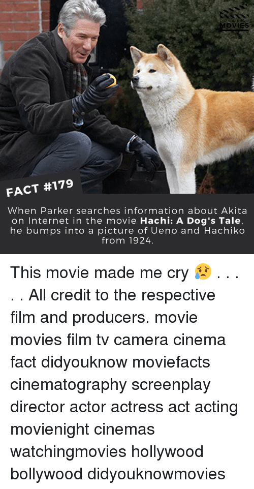 hachi: DID YOU KNOW  MOVIES a  FACT #179  When Parker searches information about Akita  on Internet in the movie Hachi: A Dog's Tale,  he bumps into a picture of Ueno and Hachiko  from 1924 This movie made me cry 😥 . . . . . All credit to the respective film and producers. movie movies film tv camera cinema fact didyouknow moviefacts cinematography screenplay director actor actress act acting movienight cinemas watchingmovies hollywood bollywood didyouknowmovies