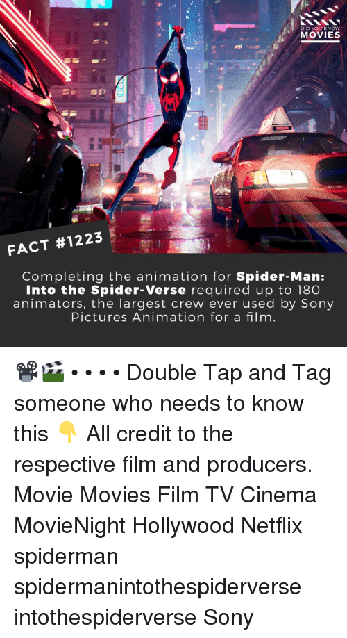 Memes, Movies, and Netflix: DID YOU KNOW  MOVIES  FACT #1223  Completing the animation for Spider-Man:  Into the Spider-Verse required up to 180  animators, the largest crew ever used by Sony  Pictures Animation for a film 📽️🎬 • • • • Double Tap and Tag someone who needs to know this 👇 All credit to the respective film and producers. Movie Movies Film TV Cinema MovieNight Hollywood Netflix spiderman spidermanintothespiderverse intothespiderverse Sony
