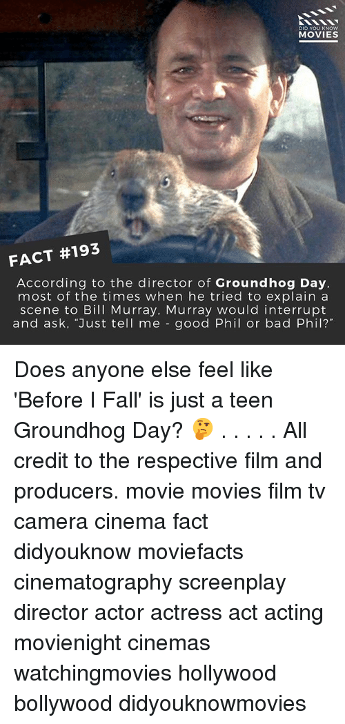 """groundhog: DID YOU KNOW  MOVIES  FACT #193  According to the director of Groundhog Day,  most of the times when he tried to explain a  scene to Bill Murray, Murray would interrupt  and ask, """"Just tell me good Phil or bad Phil? Does anyone else feel like 'Before I Fall' is just a teen Groundhog Day? 🤔 . . . . . All credit to the respective film and producers. movie movies film tv camera cinema fact didyouknow moviefacts cinematography screenplay director actor actress act acting movienight cinemas watchingmovies hollywood bollywood didyouknowmovies"""