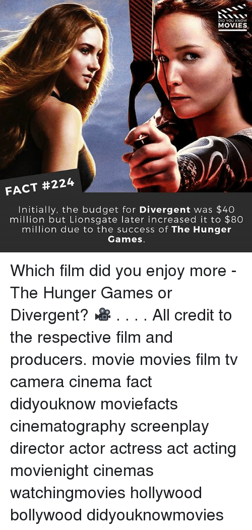 Divergent: DID YOU KNOW  MOVIES  FACT #224  Initially, the budget for Divergent was $40  million but Lionsgate later increased it to $8O  million due to the success of The Hunger  Games Which film did you enjoy more - The Hunger Games or Divergent? 🎥 . . . . All credit to the respective film and producers. movie movies film tv camera cinema fact didyouknow moviefacts cinematography screenplay director actor actress act acting movienight cinemas watchingmovies hollywood bollywood didyouknowmovies