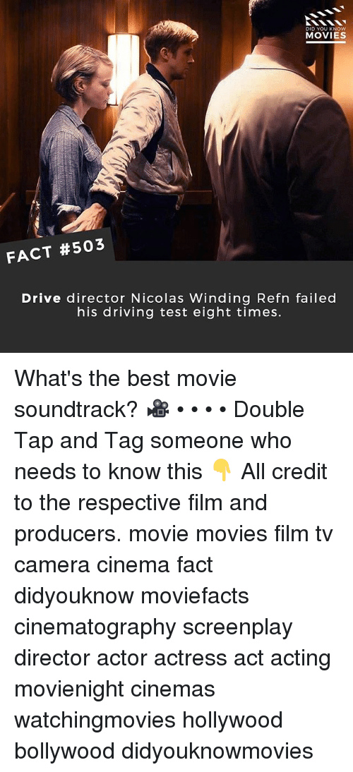 Bollywood: DID YOU KNOw  MOVIES  FACT #503  Drive director Nicolas Winding Refn failed  his driving test eight times. What's the best movie soundtrack? 🎥 • • • • Double Tap and Tag someone who needs to know this 👇 All credit to the respective film and producers. movie movies film tv camera cinema fact didyouknow moviefacts cinematography screenplay director actor actress act acting movienight cinemas watchingmovies hollywood bollywood didyouknowmovies