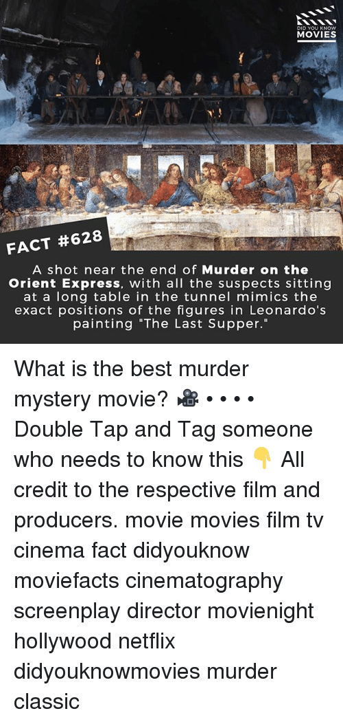 """The Last Supper: DID YOU KNOW  MOVIES  FACT #628  A shot near the end of Murder on the  Orient Express, with all the suspects sitting  at a long table in the tunnel mimics the  exact positions of the figures in Leonardo's  painting """"The Last Supper."""" What is the best murder mystery movie? 🎥 • • • • Double Tap and Tag someone who needs to know this 👇 All credit to the respective film and producers. movie movies film tv cinema fact didyouknow moviefacts cinematography screenplay director movienight hollywood netflix didyouknowmovies murder classic"""