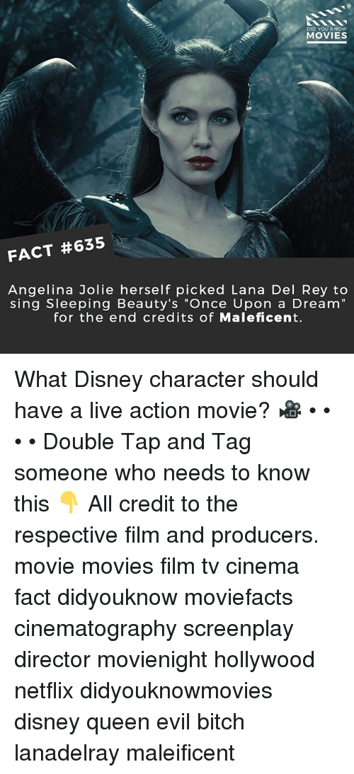 "Angelina Jolie: DID YOU KNOW  MOVIES  FACT #635  Angelina Jolie herself picked Lana Del Rey to  sing Sleeping Beauty's ""Once Upon a Dream""  for the end credits of Maleficent. What Disney character should have a live action movie? 🎥 • • • • Double Tap and Tag someone who needs to know this 👇 All credit to the respective film and producers. movie movies film tv cinema fact didyouknow moviefacts cinematography screenplay director movienight hollywood netflix didyouknowmovies disney queen evil bitch lanadelray maleificent"