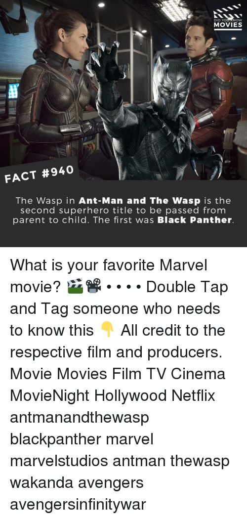 Memes, Movies, and Netflix: DID YOU KNOW  MOVIES  FACT #940  The Wasp in Ant-Man and The Wasp is the  second superhero title to be passed from  parent to child. The first was Black Panther. What is your favorite Marvel movie? 🎬📽️ • • • • Double Tap and Tag someone who needs to know this 👇 All credit to the respective film and producers. Movie Movies Film TV Cinema MovieNight Hollywood Netflix antmanandthewasp blackpanther marvel marvelstudios antman thewasp wakanda avengers avengersinfinitywar