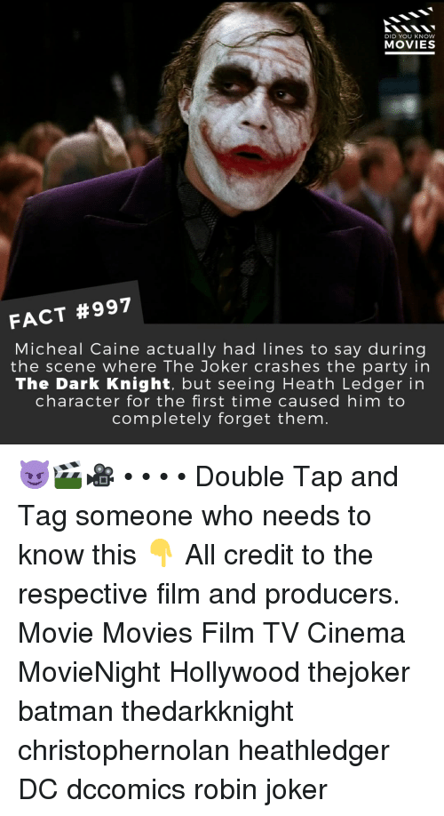 dark knight: DID YOU KNOW  MOVIES  FACT #997  Micheal Caine actually had lines to say during  the scene where The Joker crashes the party in  The Dark Knight, but seeing Heath Ledger in  character for the first time caused him to  completely forget them 😈🎬🎥 • • • • Double Tap and Tag someone who needs to know this 👇 All credit to the respective film and producers. Movie Movies Film TV Cinema MovieNight Hollywood thejoker batman thedarkknight christophernolan heathledger DC dccomics robin joker