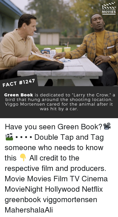 "Memes, Movies, and Netflix: DID YOU KNOW  MOVIES  G ROLL  PEC  Loo  FACT #1247  Green Book is dedicated to ""Larry the Crow,"" a  bird that hung around the shooting location.  Viggo Mortensen cared for the animal after it  was hit by a car. Have you seen Green Book?📽️🎬 • • • • Double Tap and Tag someone who needs to know this 👇 All credit to the respective film and producers. Movie Movies Film TV Cinema MovieNight Hollywood Netflix greenbook viggomortensen MahershalaAli"