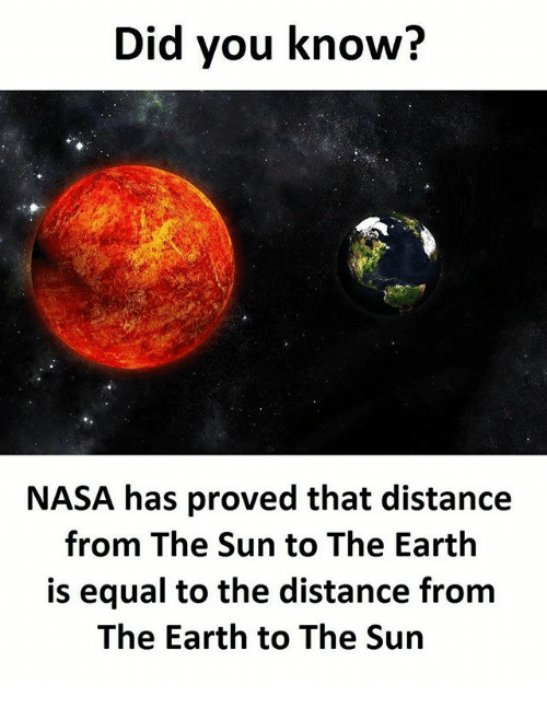 Equalism: Did you know?  NASA has proved that distance  from The Sun to The Earth  is equal to the distance from  The Earth to The Sun