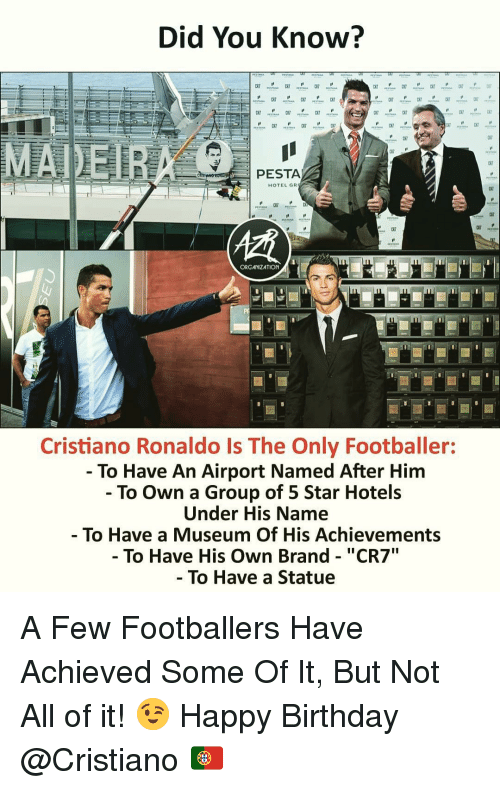 """Birthday, Cristiano Ronaldo, and Memes: Did You Know?  PESTA  HOTEL GR  c7  ORGANIZATION  Cristiano Ronaldo Is The Only Footballer:  - To Have An Airport Named After Him  - To Own a Group of 5 Star Hotels  Under His Name  To Have a Museum Of His Achievements  - To Have His Own Brand - """"CR7  To Have a Statue A Few Footballers Have Achieved Some Of It, But Not All of it! 😉 Happy Birthday @Cristiano 🇵🇹"""