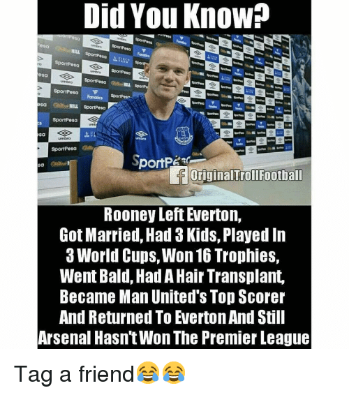 trophies: Did You Know?  sa  HILL  SportPesa  esa  ro  sa  SportPesa  sa Cd HILL SportPesa  SportPesa  Sa  SportPesa  loriginalTrollFootball  ROoney Left Everton,  Got Married, Had 3 Kids, Played In  3 World Cups, Won 16 Trophies,  Went Bald, Had A Hair Transplant,  Became Man United's Top Scorer  And Returned To Everton And Still  Arsenal Hasn'tWon The Premier League Tag a friend😂😂
