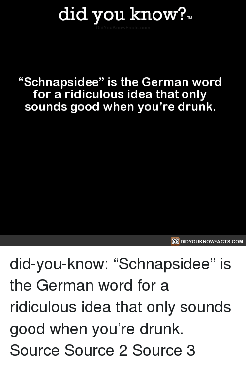 "Drunk, Target, and Tumblr: did you know?  ""Schnapsidee"" is the German word  for a ridiculous idea that only  sounds good when you're drunk.  回DIDYOUKNOWFACTS.COM did-you-know:  ""Schnapsidee"" is the German word   for a ridiculous idea that only   sounds good when you're drunk.    Source Source 2 Source 3"