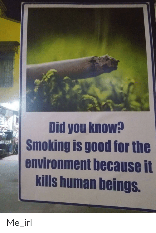 Smoking, Good, and Irl: Did you know?  Smoking is good for the  environment because it  kills human beings. Me_irl