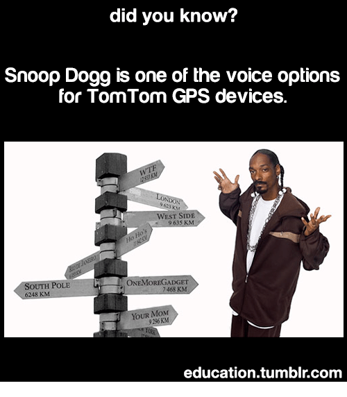 Snoop, Snoop Dogg, and The Voice: did you know?  Snoop Dogg is one of the voice options  for TomTom GPS devices.  9 623 KM  WEST SİDE  9635 KM  ONEMOREGADGET  7468 KM  OUTH POLE  YOUR MoxM  9296 KM  education.tumblr.com
