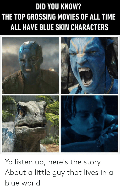 Dank, Movies, and Yo: DID YOU KNOW?  THE TOP GROSSING MOVIES OF ALL TIME  ALL HAVE BLUE SKIN CHARACTERS Yo listen up, here's the story About a little guy that lives in a blue world