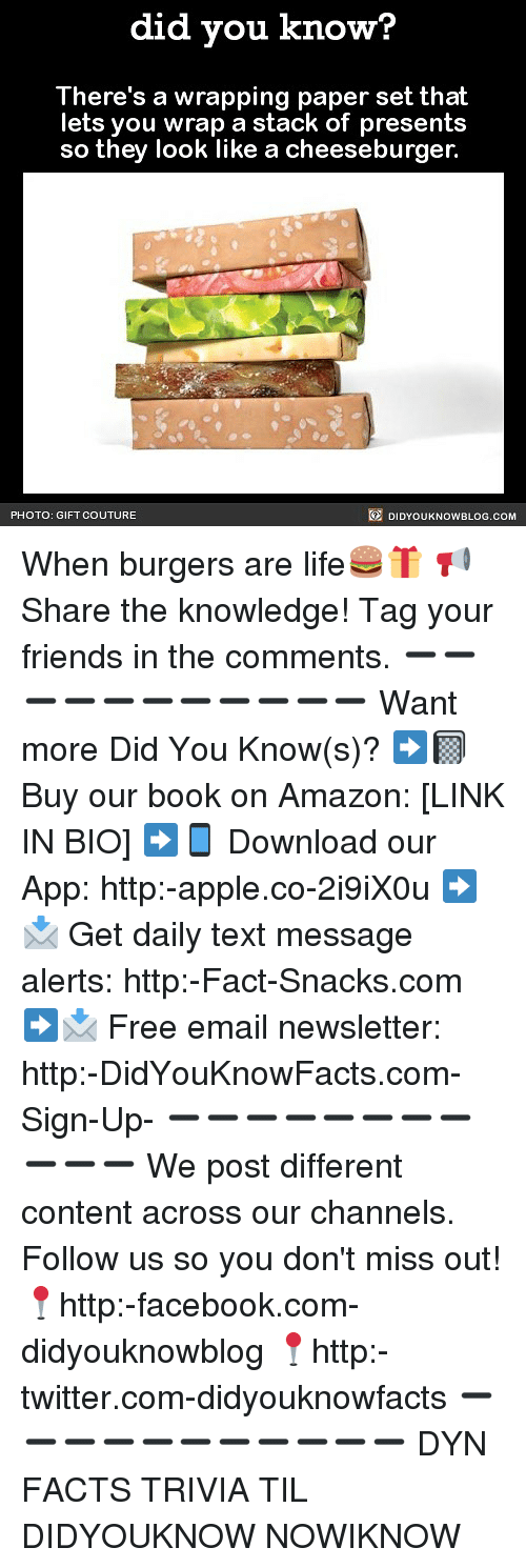 Amazon, Apple, and Facebook: did you know?  There's a wrapping paper set that  lets you wrap a stack of presents  so they look like a cheeseburger.  PHOTO: GIFT COUTURE  DIDYOUKNOWBLOG.COM When burgers are life🍔🎁 📢 Share the knowledge! Tag your friends in the comments. ➖➖➖➖➖➖➖➖➖➖➖ Want more Did You Know(s)? ➡📓 Buy our book on Amazon: [LINK IN BIO] ➡📱 Download our App: http:-apple.co-2i9iX0u ➡📩 Get daily text message alerts: http:-Fact-Snacks.com ➡📩 Free email newsletter: http:-DidYouKnowFacts.com-Sign-Up- ➖➖➖➖➖➖➖➖➖➖➖ We post different content across our channels. Follow us so you don't miss out! 📍http:-facebook.com-didyouknowblog 📍http:-twitter.com-didyouknowfacts ➖➖➖➖➖➖➖➖➖➖➖ DYN FACTS TRIVIA TIL DIDYOUKNOW NOWIKNOW