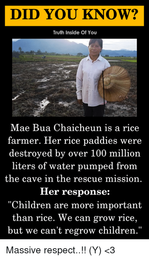 "Anaconda, Children, and Memes: DID YOU KNOW?  Truth Inside Of You  Mae Bua Chaicheun is a rice  farmer. Her rice paddies were  destroyed by over 100 million  liters of water pumped from  the cave in the rescue mission.  Her response:  ""Children are more important  than rice. We can grow rice,  but we can't regrow children."" Massive respect..!! (Y) <3"