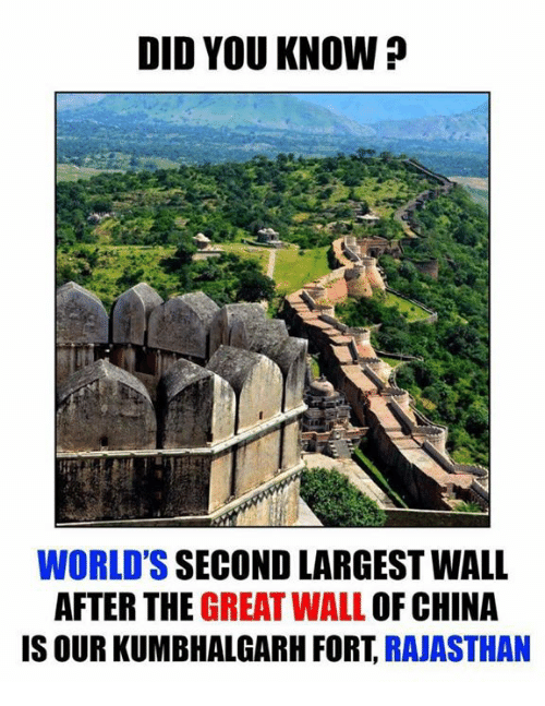 the-great-wall: DID YOU KNOW?  WORLD'S SECOND LARGEST WALL  AFTER THE  GREAT WALL OF CHINA  IS OUR KUMBHALGARH FORT  RAJASTHAN