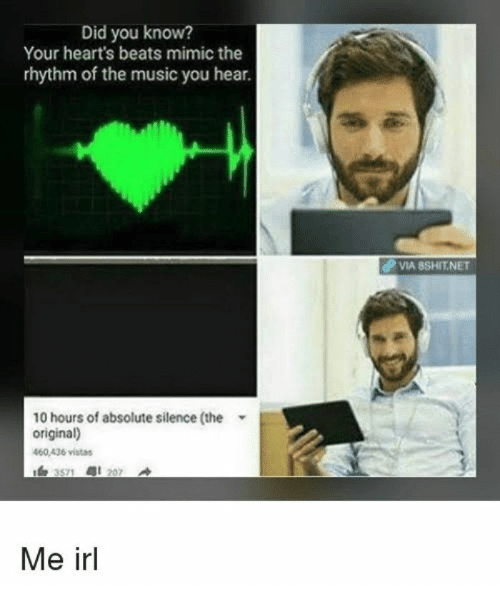 mimic: Did you know?  Your heart's beats mimic the  rhythm of the music you hear.  dP VIA BSHIT.NET  10 hours of absolute silence (the  original)  460.436 vistas  Me irl