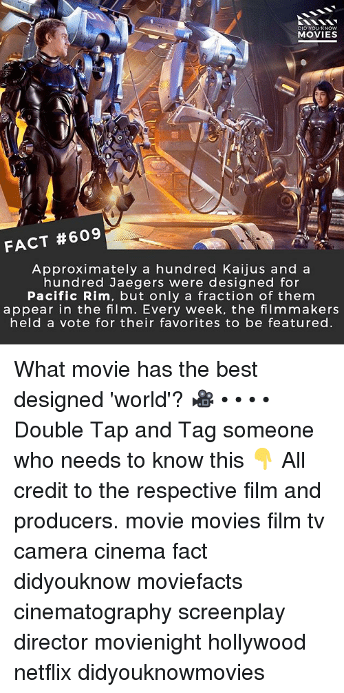 what movie: DID YOUKNOW  MOVIES  FACT #609  Approximately a hundred Kaijus and a  hundred Jaegers were designed for  Pacific Rim, but only a fraction of them  appear in the film. Every week, the filmmakers  held a vote for their favorites to be featured What movie has the best designed 'world'? 🎥 • • • • Double Tap and Tag someone who needs to know this 👇 All credit to the respective film and producers. movie movies film tv camera cinema fact didyouknow moviefacts cinematography screenplay director movienight hollywood netflix didyouknowmovies