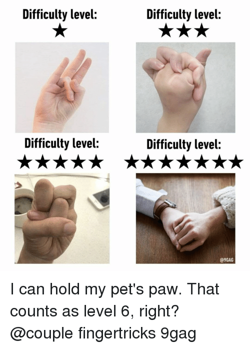 9gag, Memes, and Pets: Difficulty level:  Difficulty level:  Difficulty level:  Difficulty level:  @9GAG I can hold my pet's paw. That counts as level 6, right?⠀ @couple fingertricks 9gag