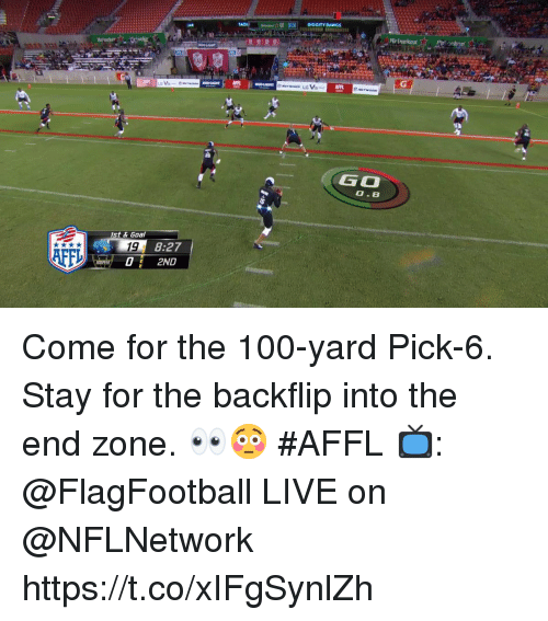 The 100: DIGGITY DAWGS  A  Heineken  AFP  GO  0.8  st & Goal  19  02ND  8:27  AFF Come for the 100-yard Pick-6.  Stay for the backflip into the end zone. 👀😳 #AFFL  📺: @FlagFootball LIVE on @NFLNetwork https://t.co/xIFgSynlZh