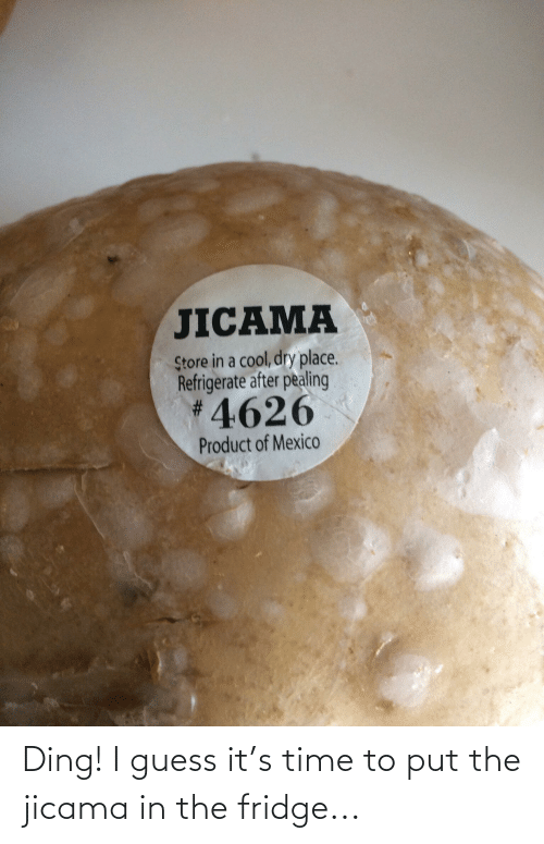 guess.it: Ding! I guess it's time to put the jicama in the fridge...