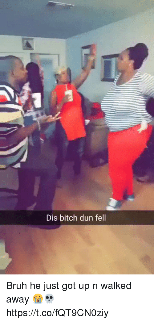 Bitch, Bruh, and Hood: Dis bitch dun fell Bruh he just got up n walked away 😭💀   https://t.co/fQT9CN0ziy
