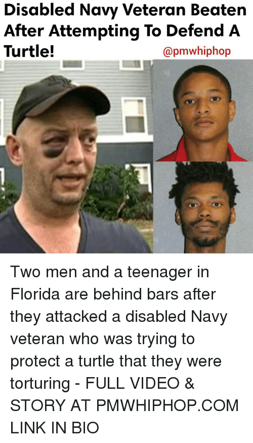 Turtling: Disabled Navy Veteran Beaten  After Attempting To Defend A  Turtle!  apmwhiphop Two men and a teenager in Florida are behind bars after they attacked a disabled Navy veteran who was trying to protect a turtle that they were torturing - FULL VIDEO & STORY AT PMWHIPHOP.COM LINK IN BIO
