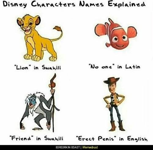 "Disney, Lion, and Penis: Disney Characters Names  Explained  Lion n Swahili  ""No one"" in Latin  ""Friend in Swahili  reet Penis in Enlish  B3RS3RKIN B3AST 