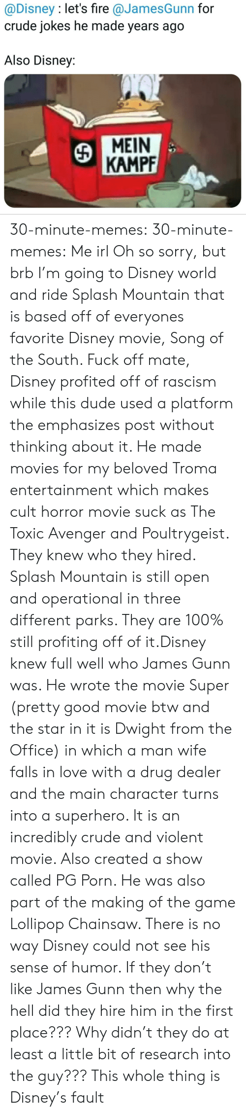 Imdb: @Disney : let's fire @JamesGunn for  crude jokes he made years ago  Also Disney:  MEIN  KAMPF 30-minute-memes: 30-minute-memes: Me irl Oh so sorry, but brb I'm going to Disney world and ride Splash Mountain that is based off of everyones favorite Disney movie, Song of the South.  Fuck off mate, Disney profited off of rascism while this dude used a platform the emphasizes post without thinking about it. He made movies for my beloved Troma entertainment which makes cult horror movie suck as The Toxic Avenger and Poultrygeist. They knew who they hired.  Splash Mountain is still open and operational in three different parks. They are 100% still profiting off of it.Disney knew full well who James Gunn was. He wrote the movie Super (pretty good movie btw and the star in it is Dwight from the Office) in which a man wife falls in love with a drug dealer and the main character turns into a superhero. It is an incredibly crude and violent movie. Also created a show called PG Porn. He was also part of the making of the game Lollipop Chainsaw. There is no way Disney could not see his sense of humor. If they don't like James Gunn then why the hell did they hire him in the first place??? Why didn't they do at least a little bit of research into the guy??? This whole thing is Disney's fault