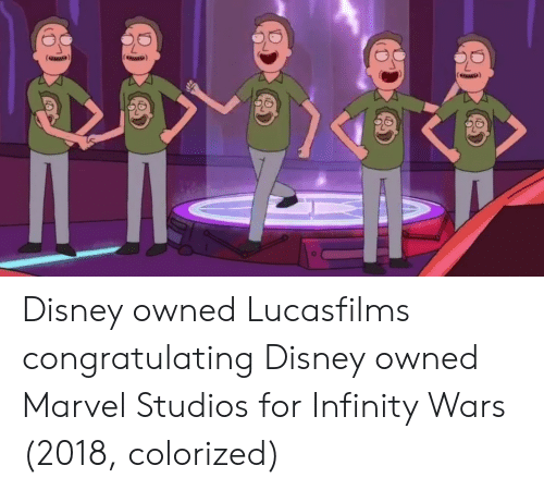 congratulating: Disney owned Lucasfilms congratulating Disney owned Marvel Studios for Infinity Wars (2018, colorized)