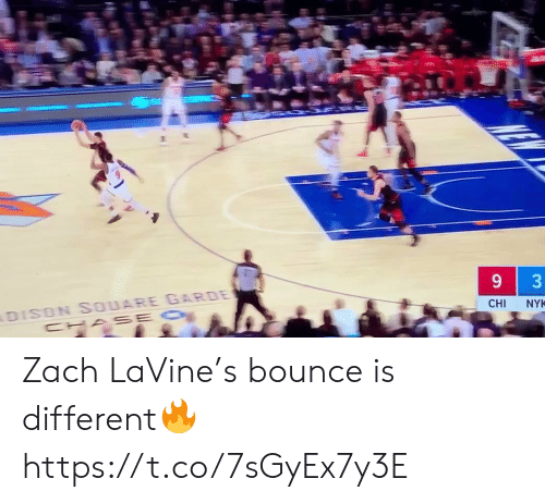 cha: DISON SOUARE GARDE  CHA SE O  CHI  NYK  3 Zach LaVine's bounce is different🔥 https://t.co/7sGyEx7y3E