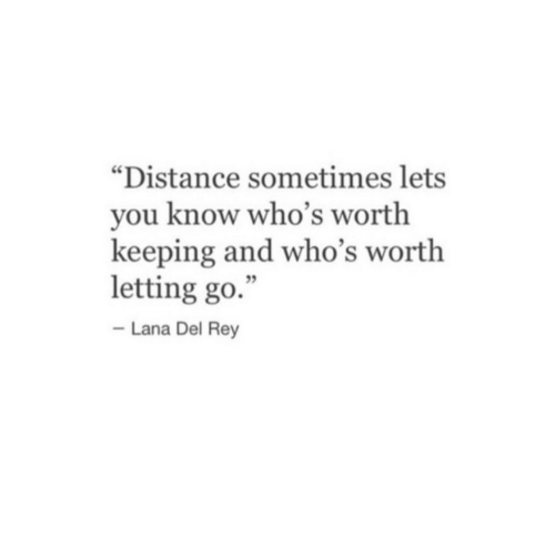 """Lana Del Rey, Rey, and Lana: """"Distance sometimes lets  you know who's worth  keeping and who's worth  letting go.  Lana Del Rey"""